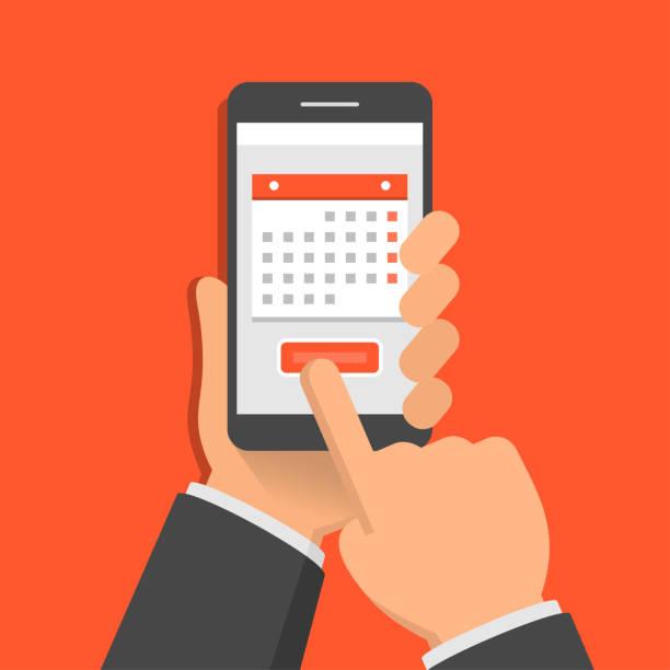 illustrations, cliparts, dessins animés et icônes de concept d'application mobile pour le calendrier. une main tient écran tactile smartphone et doigt. illustration vectorielle design plat - main téléphone