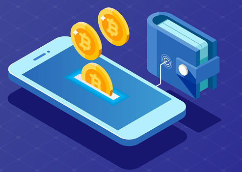 Concept of mobile payments. Wallet connected with mobile phone.