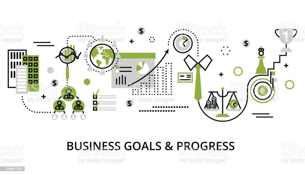 Concept of modern business goals and progress vector art illustration