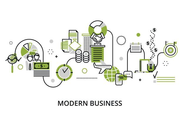 Concept of modern business process vector art illustration