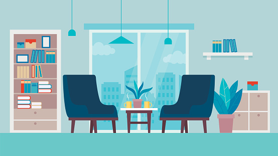 Concept Of Modern Living Room Or Cabinet Interior Design. Comfortable Armchairs With Coffee Table With Hot Drinks, Bookcase And Window With Cityscape View. Cartoon Flat Style. Vector Illustration