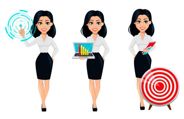 ilustrações de stock, clip art, desenhos animados e ícones de concept of modern young business woman, set - business woman hologram