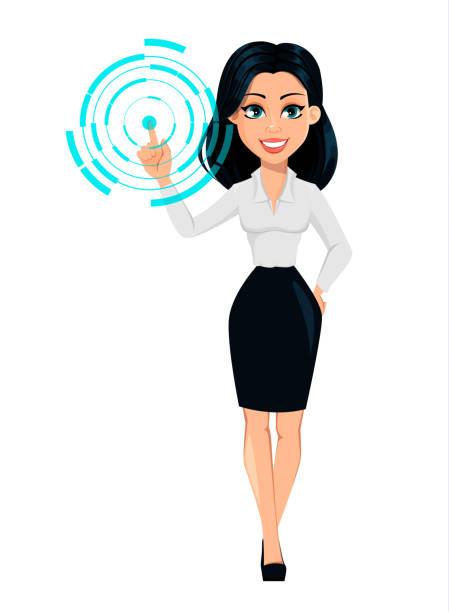 ilustrações de stock, clip art, desenhos animados e ícones de concept of modern young business woman - business woman hologram