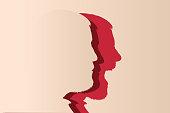 Concept de l'humeur et du changement d'expression avec un homme au visage impassible qui se transforme en se mettant à crier.