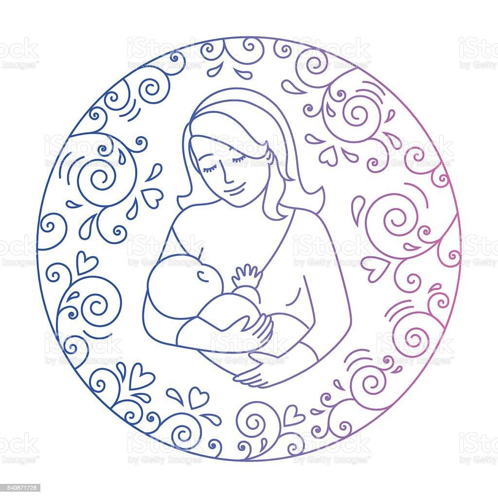 concept of motherhood vector art illustration