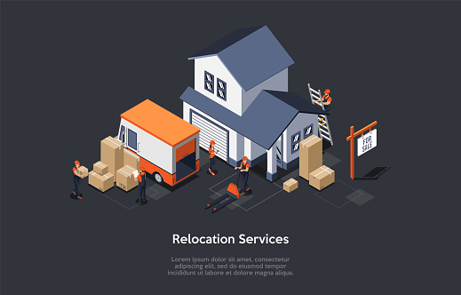 Concept Of Moving and Real Estate. Moving Service Workers In Coveralls Are Loading Furniture To Moving Service Truck. Moving Process Into a New House. Isometric Cartoon 3D Flat Vector illustration