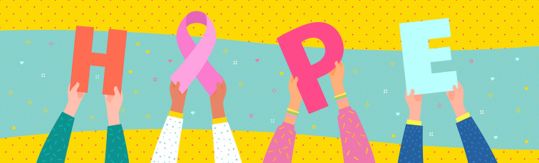 Concept of National Breast Cancer Awareness Month. Women. Hands hold pink ribbon and hearts.