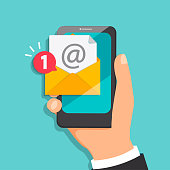 Concept of new letter coming to the email in mobile mail. Notification of one new message in smartphone. Vector illustration.