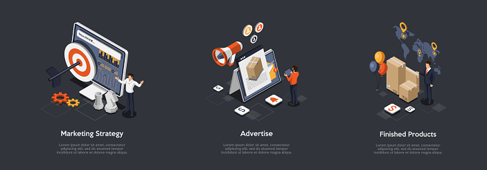 Concept Of New Product Promotion And Advertisement. Characters Develop Marketing Strategies And Promotions, Represent New Finished Product On Market For Sale. Cartoon Isometric 3d Vector Illustration