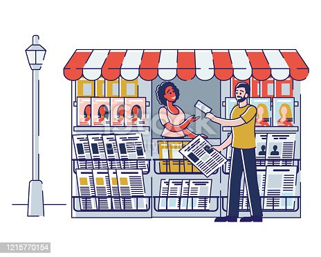 Concept Of Newsstand. Woman Seller Is Selling Newspapers And Magazines In Press Kiosk. Female Character Selling Fresh Press in Booth on Street. Cartoon Linear Outline Flat Style. Vector Illustration