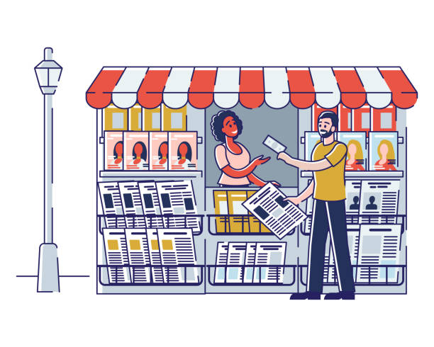 Concept Of Newsstand. Woman Seller Is Selling Newspapers And Magazines In Press Kiosk. Female Character Selling Fresh Press in Booth on Street. Cartoon Linear Outline Flat Style. Vector Illustration Concept Of Newsstand. Woman Seller Is Selling Newspapers And Magazines In Press Kiosk. Female Character Selling Fresh Press in Booth on Street. Cartoon Linear Outline Flat Style. Vector Illustration news stand stock illustrations
