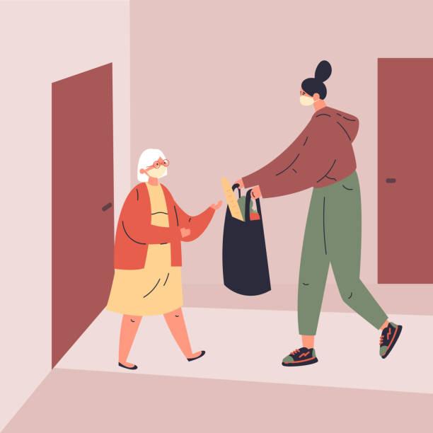 ilustrações de stock, clip art, desenhos animados e ícones de concept of old people on coronavirus quarantine - vizinho