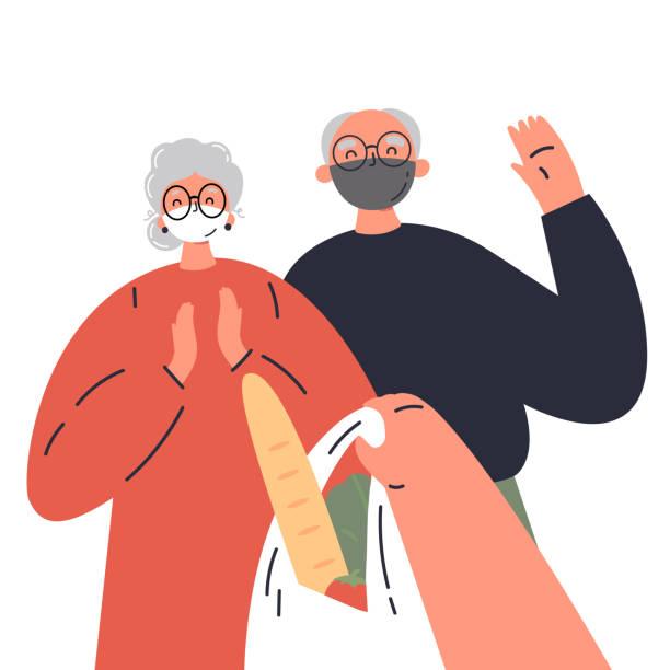 concept of old people on coronavirus quarantine - starsi mężczyźni stock illustrations