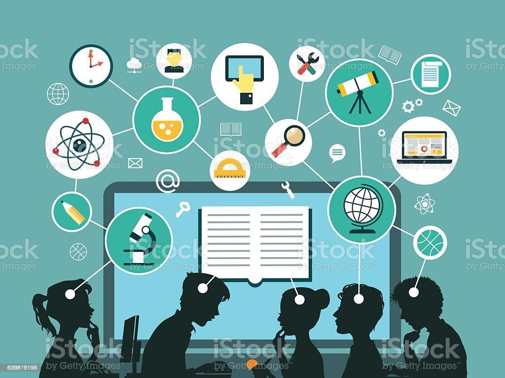 Concept of online education vector art illustration