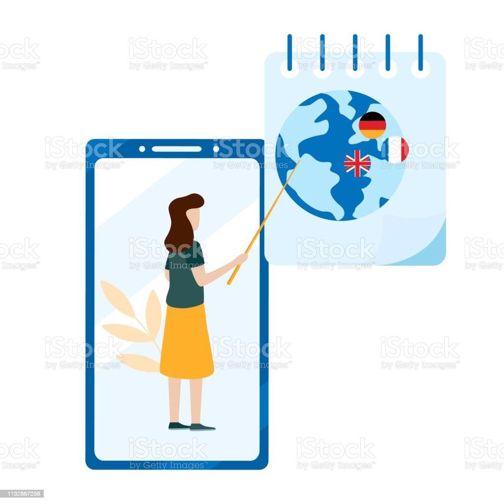 Concept Dapprentissage En Ligne Choix De Cours De Langue Préparation À  Lexamen Scolarité À Domicile Application Mobile Vecteurs libres de droits  et