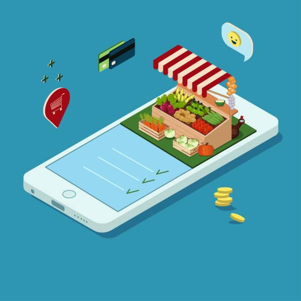 stockillustraties, clipart, cartoons en iconen met concept van online bestellen van landbouwproducten. mobiele telefoon met een beeld van een winkelende tent in isometry. stockvectorafbeeldingen - chicken bird in box