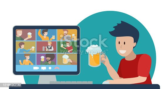 Concept of online party with beer. Teleconference with friends. Oktomberfest at home during quarantine. Young man with glass of foamy cheers with people on computer monitor. Vector flat illustration.