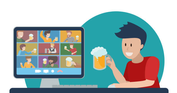 illustrazioni stock, clip art, cartoni animati e icone di tendenza di concept of online party with beer. teleconference with friends. oktomberfest at home during quarantine. young man with glass of foamy cheers with people on computer monitor. vector flat illustration. - hand on glass covid