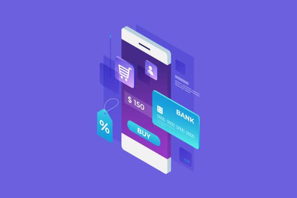 stockillustraties, clipart, cartoons en iconen met concept van de online winkel, online winkelen. - webshop