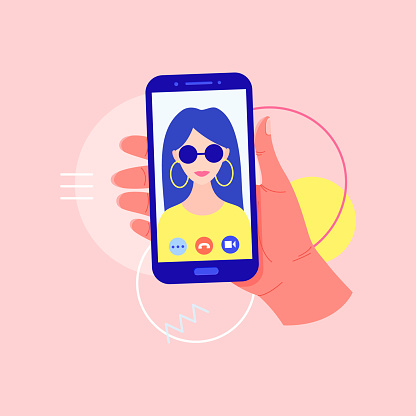 Concept of online video call app. Video chatting online on smartphone, isolated icon. Video chat with young girl on screen.