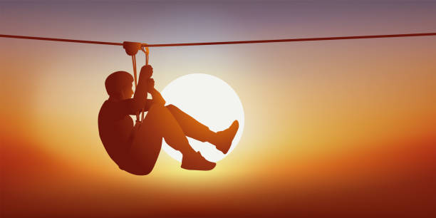 Concept of outdoor recreation with a man on the zip line of a hook-up. vector art illustration