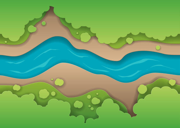 concept of paper river with shadows - river paper stock illustrations, clip art, cartoons, & icons