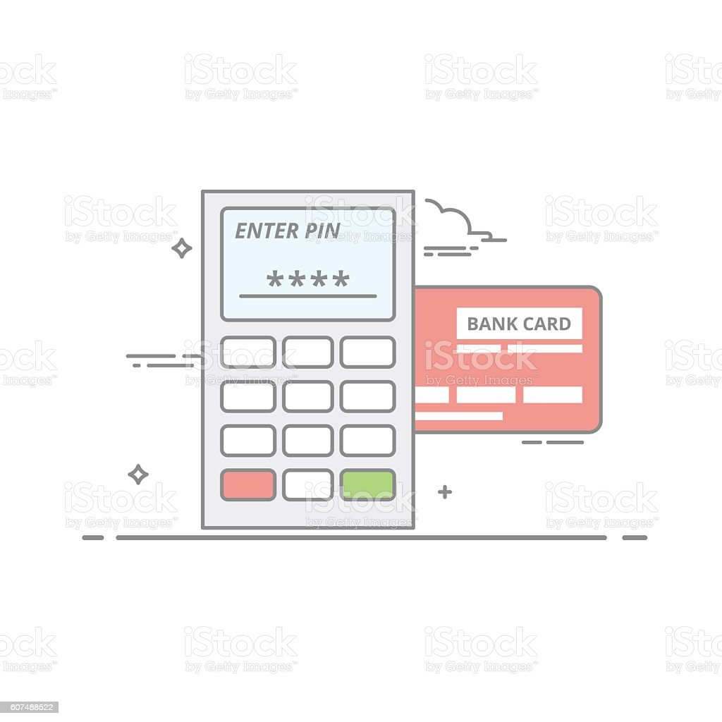 Concept of payment by credit card through the terminal. An vektör sanat illüstrasyonu