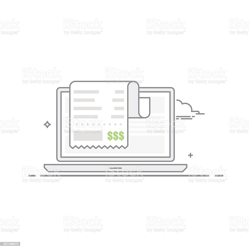 Concept of payment for goods or services via the Internet vector art illustration