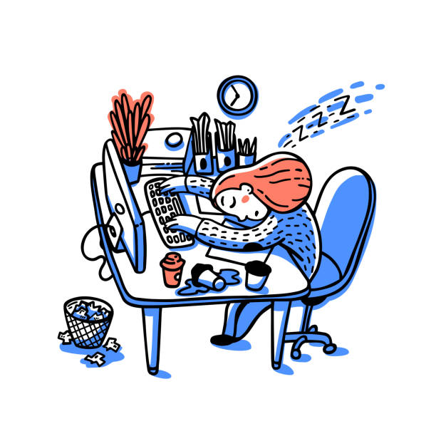 Concept of person overwhelmed by work. Information overload concept. Young woman sleeping on her workplace. Colorful vector illustration in flat cartoon style Concept of person overwhelmed by work. Information overload concept. Young woman sleeping on her workplace. Colorfull vector illustration in flat cartoon style. mental burnout stock illustrations