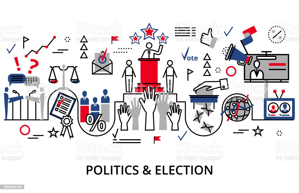 Concept of politics and election vector art illustration