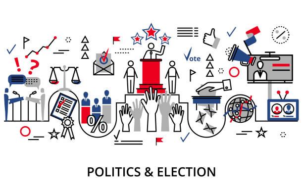 ilustrações, clipart, desenhos animados e ícones de conceito da política e da eleição - político