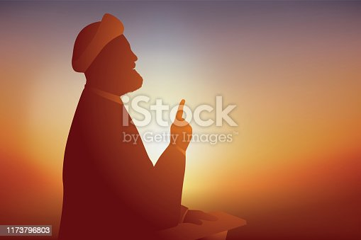 istock Concept of prayer for Muslims with an Iranian Imam who speaks to his followers. 1173796803