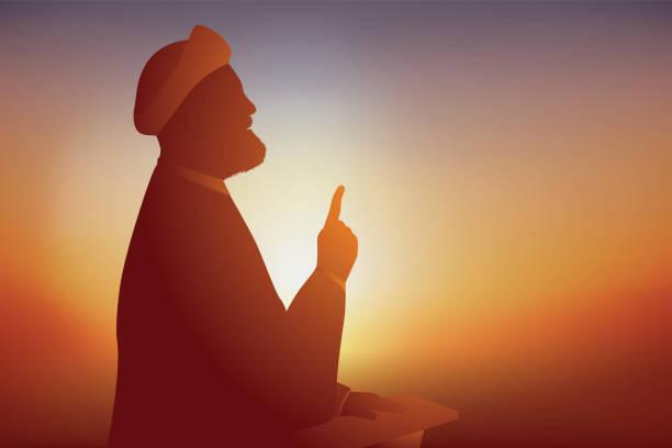 ilustrações de stock, clip art, desenhos animados e ícones de concept of prayer for muslims with an iranian imam who speaks to his followers. - cora��o