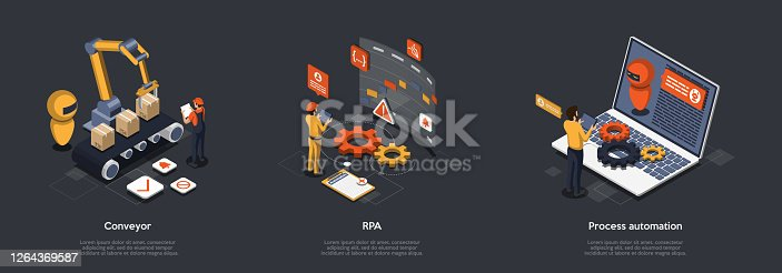 istock Concept Of Process Automation With High Technology And Programming. Characters Refine Production Processes With Robotic Process Automation. Robot Manage By Conveyor. Isometric 3D Vector Illustration 1264369587