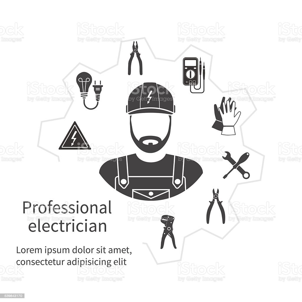 Concept of profession electrician. vector art illustration