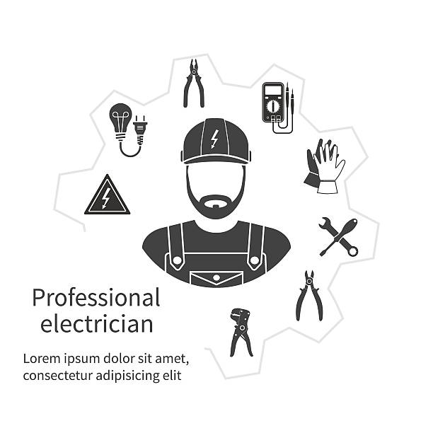 Concepto de electricista profesional. - ilustración de arte vectorial