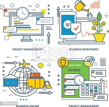istock Concept of project management, business investment 603855526