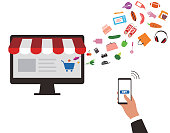 concept of purchasing product at internet, mobile shopping. Buy Online.