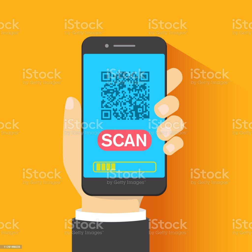 Barcode Verification concept of qr code barcode scanning verification app flat