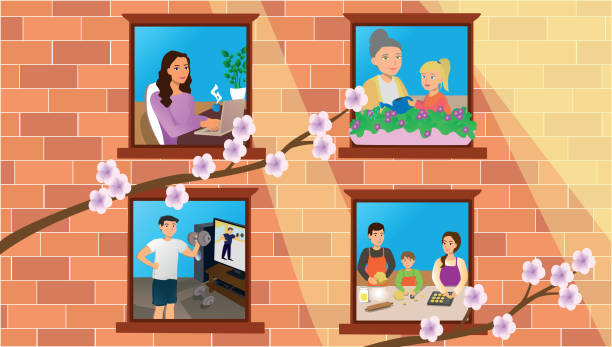 Concept of quarantine during the coronavirus pandemic, you can see in the windows that people do different things: working from home with the computer, cooking, gardening and training. vector art illustration