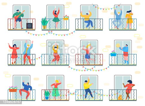 istock Concept of quarantine. People staing at home and dance on their balconies. Stay home concept. Self isolation, quarantine due to coronavirus. 1249528757