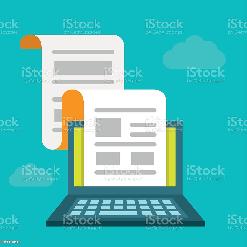 Concept of regularly distributed news publication via e-mail vector art illustration