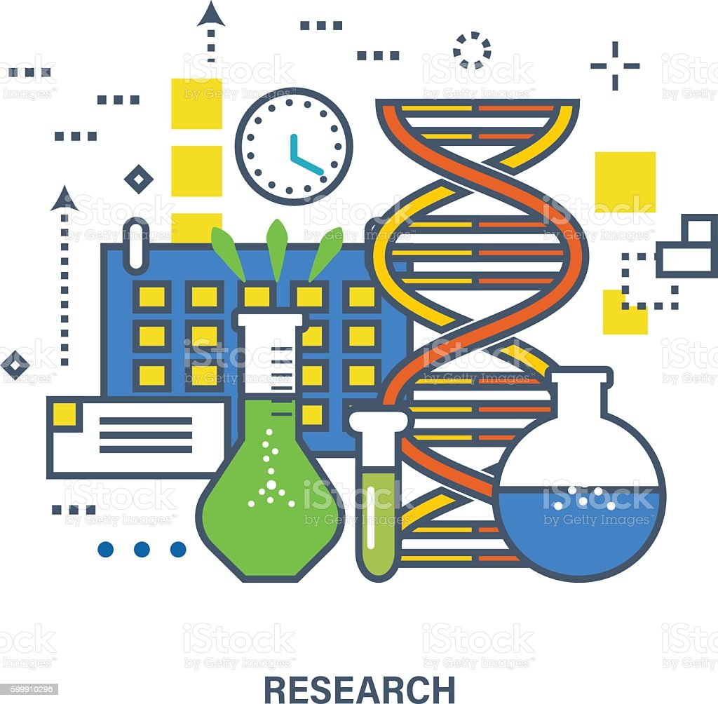 Concept of research. Color Line icons. vector art illustration