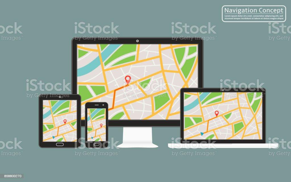 Konzept der reaktionsschnelle Navigationsanwendung für Desktop-Computer, Laptop, Tablet, Handy mit GPS-Navigationskarte auf dem Bildschirm – Vektorgrafik