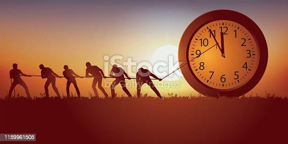 symbole du temps qui passe avec un groupe d'homme qui tentent de l'arrêter en retenant symboliquement les aiguilles d'une horloge avec une corde.