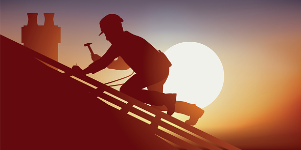 Concept of risky work with a carpenter working on a roof