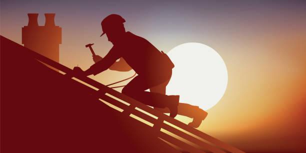 Concept of risky work with a carpenter working on a roof Métier du bâtiment avec un couvreur sur le toit d'une maison qui pose des tuiles. Accroupi sur une charpente, il travail sous une chaleur accablante. heat wave stock illustrations