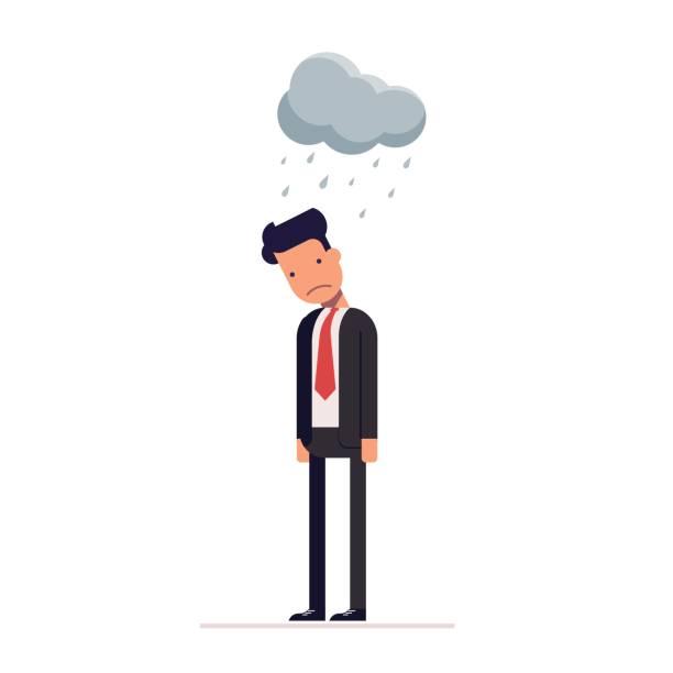 ilustrações de stock, clip art, desenhos animados e ícones de concept of sad businessman or manager. flat character isolated on white background. vector, illustration eps10. - unfortunate