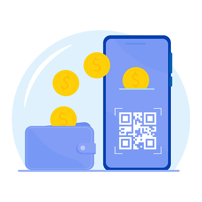 Concept of Scanning a QR code on a smartphone for payment. Flat style with cartoon.