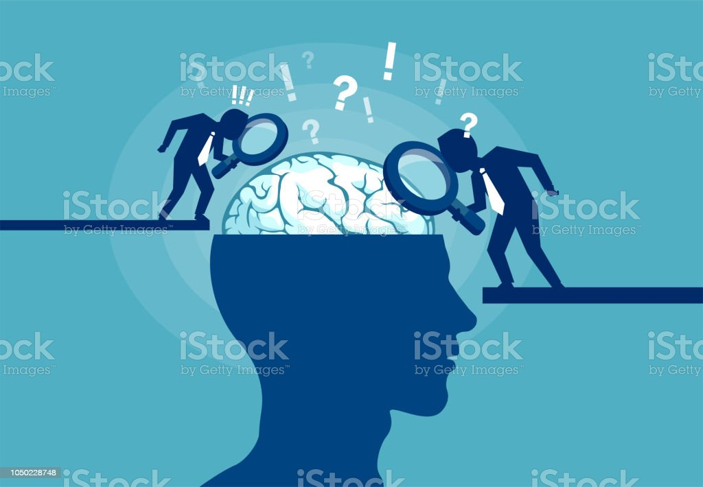 Concept of scientist exploring human brain Colorful vector illustration of scientists researching brain and psychology of human on blue background Activity stock vector